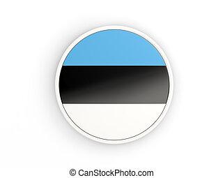 Flag of estonia. Round icon with frame