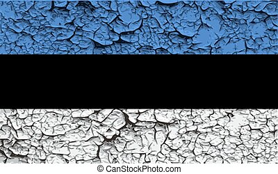 Flag of Estonia with old texture. Vector