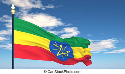 Flag Of Ethiopia on the background of the sky and flying...