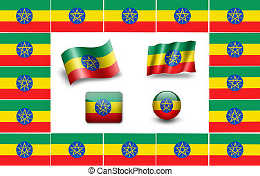 flag of Ethiopia. icon set