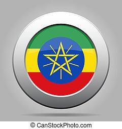 Flag of Ethiopia. Metal gray round button.