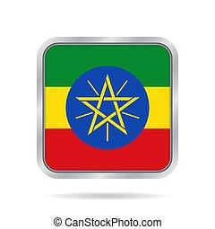 Flag of Ethiopia. Metallic gray square button.