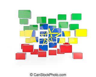 Flag of ethiopia, mosaic background