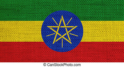Flag of Ethiopia on old linen