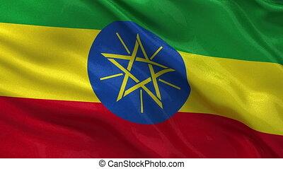 Flag of Ethiopia - seamless loop - Flag of Ethiopia waving...