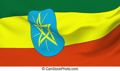 Flag of Ethiopia - Flag of the Ethiopia waving in the wind....