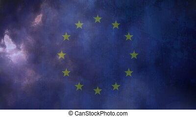 Flag of EU and lightning