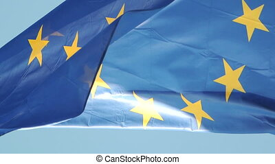 Flag of EU in front of Parliament,