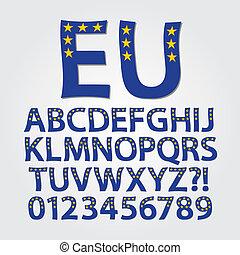 Flag of Europe Alphabet and Digit