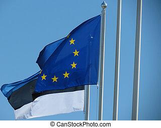 flag of Europe and flag of Estonia