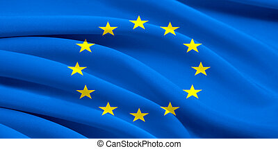 Flag of Europe Union waving in the wind