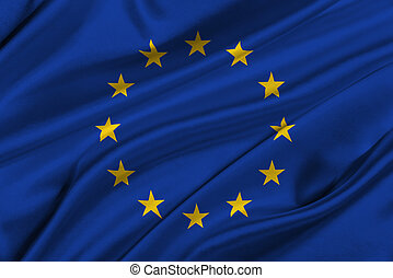 Flag of Europe Union. - Flag of Europe Union waving in the...
