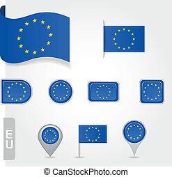 Flag of Europe  Union set EPS 10