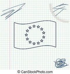 Flag of European Union line sketch icon isolated on white background. EU circle symbol. Waving EU flag. Vector Illustration