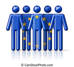 Flag of European union on stick figure - national and social...