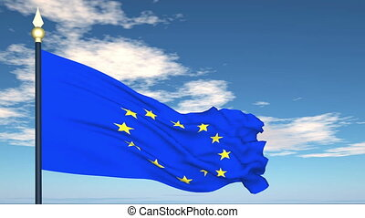 Flag Of European Union on the background of the sky and...