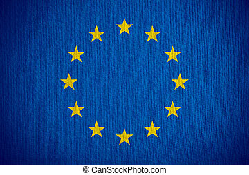 flag of European Union or European banner on paper ...