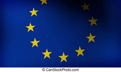 Flag of European Union slow waving on wind