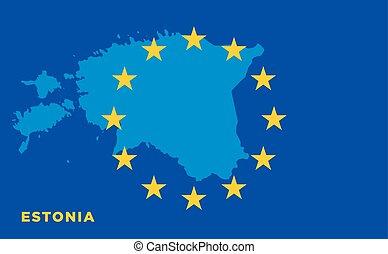 Flag of European Union with Estonia on background. Vector EU...