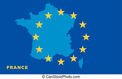 Flag of European Union with France on background