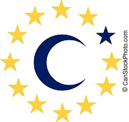 Flag of European Union with islam symbol