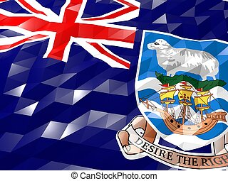 Flag of Falkland Islands 3D Wallpaper Illustration, National Symbol, Low Polygonal Glossy Origami Style