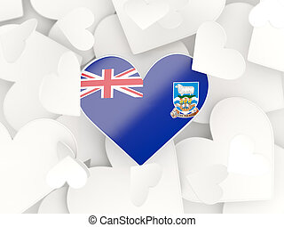 Flag of falkland islands, heart shaped stickers background. 3D illustration