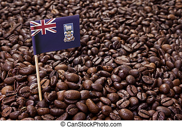 Flag of Falkland Islands sticking in coffee beans.(series)