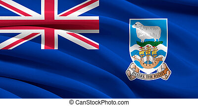Flag of Falkland Islands waving in the wind