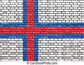 flag of Faroe Islands painted on brick wall
