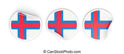 Flag of faroe islands, round labels