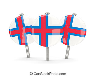 Flag of faroe islands, round pins