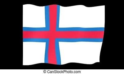 Flag of Faroe Islands. Waving flag