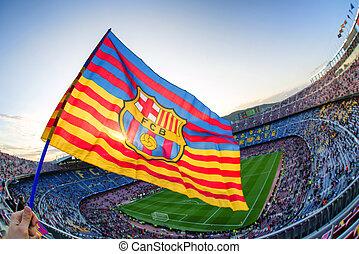 Flag of FC Barcelona at stadium Nou Camp - BARCELONA, SPAIN...
