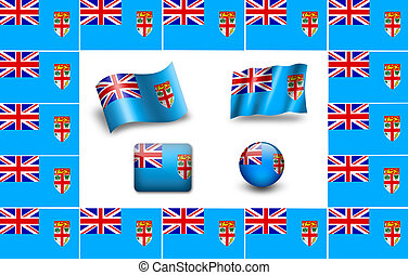 flag of Fiji. icon set