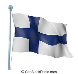 Flag of Finland - 3D Illustration of Detailed Flag Render...