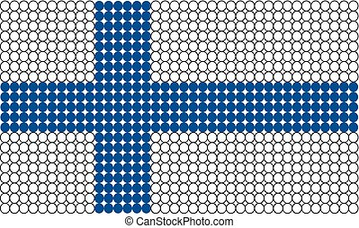 Abstract dotted flag of Finland made from small dots or circles.