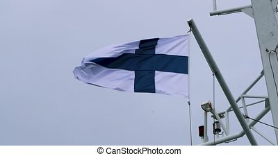 Flag of Finland fluttering in the wind