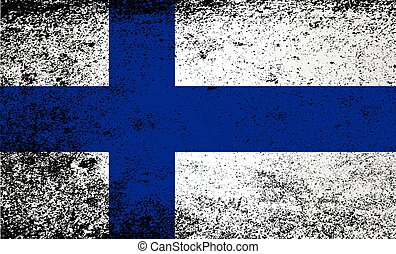 The flag of Finland in red and white stripes with grunge effect