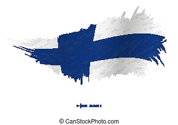 Flag of Finland in grunge style with waving effect.