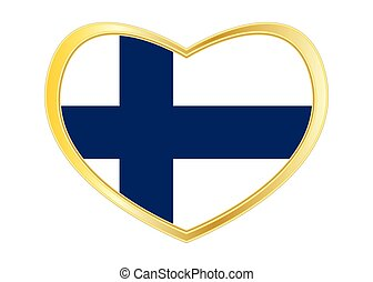 Flag of Finland in heart shape, golden frame