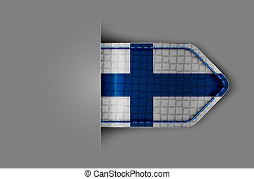Flag of Finland in the form of a glossy textured label or bookmark. Vector illustration.