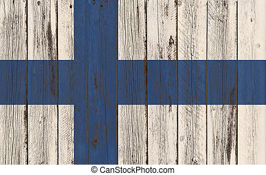 Flag of Finland painted on wooden frame