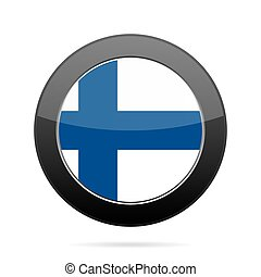 Flag of Finland. Shiny black round button.