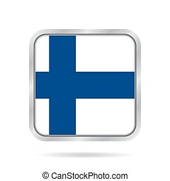 flag of Finland, shiny metallic gray square button