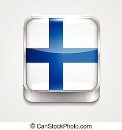 vector 3d style flag icon of finland