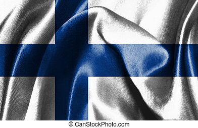 Flag Of Finland Waving In The Wind 3D illustration
