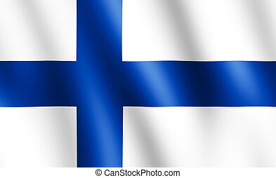 Flag of Finland waving in the wind giving an undulating texture of folds in the fabric. The Image is in the official ratio of the flag - 11:18.