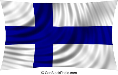Flag of Finland waving in wind isolated on white