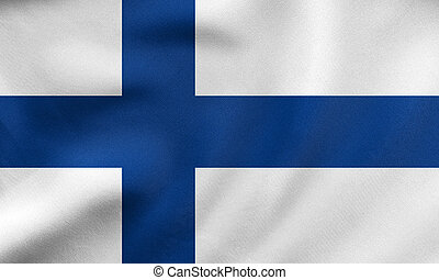 Flag of Finland waving, real fabric texture